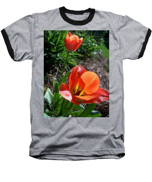 Baseball T-Shirt featuring the photograph Tulips Wearing Orange by Sandi OReilly