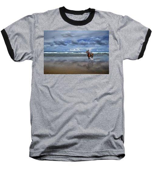 Tullan Strand - Horseriding In The Surf Baseball T-Shirt