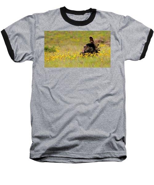 Turkey In Wildflowers Baseball T-Shirt