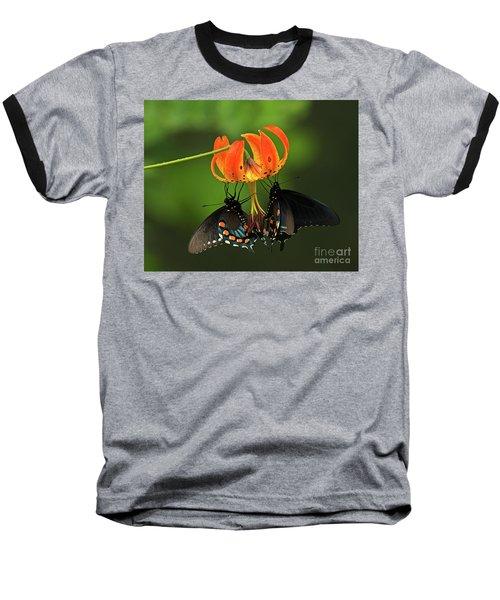 Turks Cap Lilly And Butterflies, Blue Ridge Parkway Baseball T-Shirt