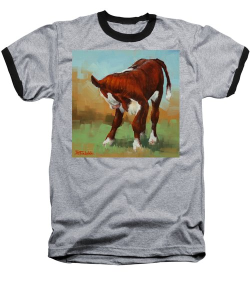 Baseball T-Shirt featuring the painting Turning Calf by Margaret Stockdale