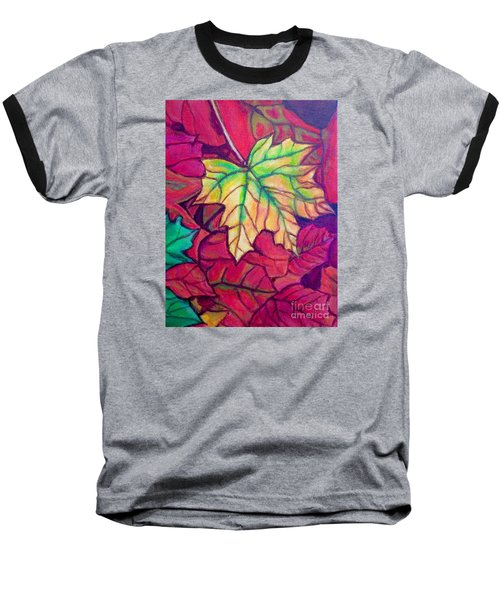 Baseball T-Shirt featuring the painting Turning Maple Leaf In The Fall by Kimberlee Baxter