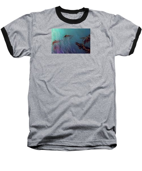 Turquoise Current And Seaweed Baseball T-Shirt by Nareeta Martin