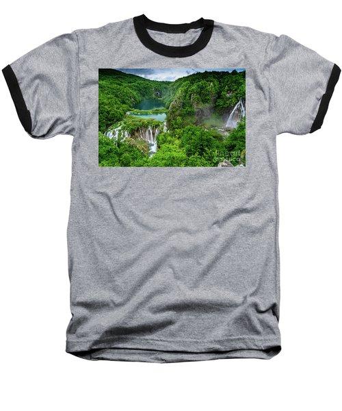 Turquoise Lakes And Waterfalls - A Dramatic View, Plitivice Lakes National Park Croatia Baseball T-Shirt