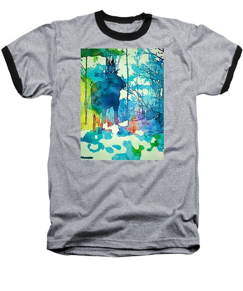 Turquoise Moose Baseball T-Shirt