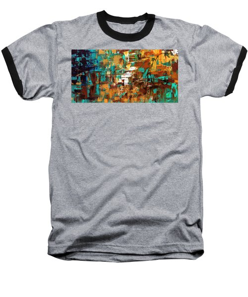 Baseball T-Shirt featuring the painting Turquoise Scent by Carmen Guedez