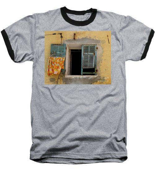 Turquoise Shuttered Window Baseball T-Shirt by Lainie Wrightson