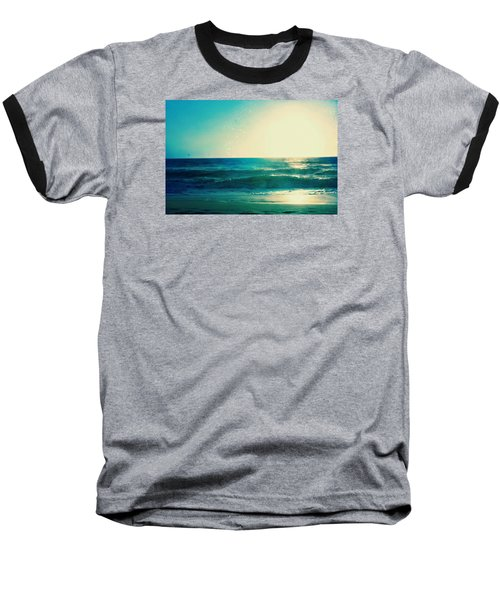 Turquoise Waves Baseball T-Shirt