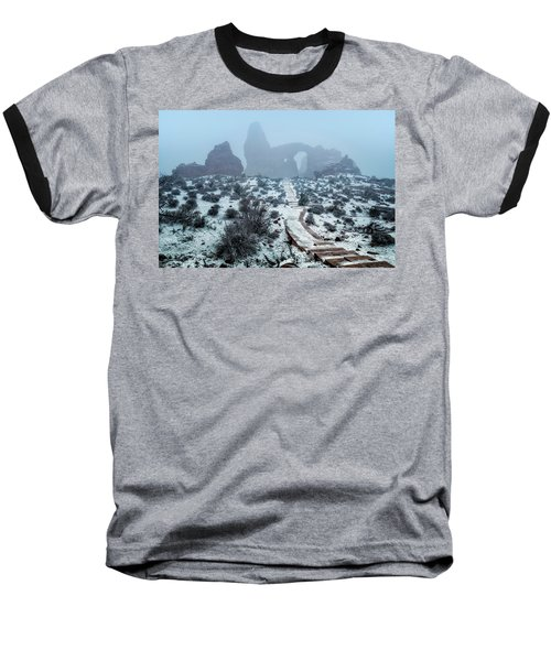 Turret Arch In The Fog Baseball T-Shirt