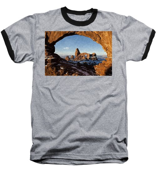 Turret Arch Baseball T-Shirt by Kai Saarto