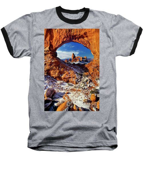 Baseball T-Shirt featuring the photograph Turret Arch Through North Window Arches National Park Utah by Dave Welling