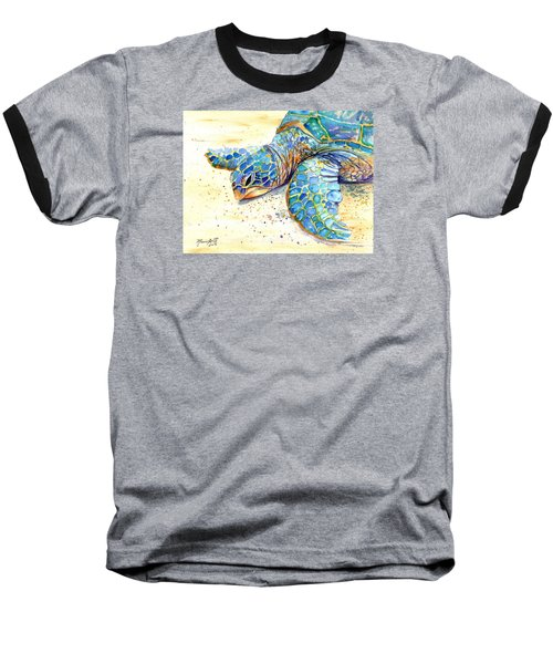 Baseball T-Shirt featuring the painting Turtle At Poipu Beach 4 by Marionette Taboniar