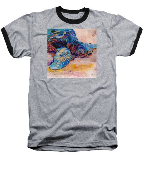 Baseball T-Shirt featuring the painting Turtle At Poipu Beach 6 by Marionette Taboniar