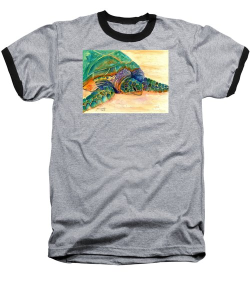 Baseball T-Shirt featuring the painting Turtle At Poipu Beach 7 by Marionette Taboniar