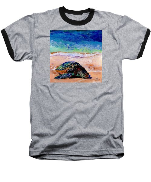 Baseball T-Shirt featuring the painting Turtle At Poipu Beach 9 by Marionette Taboniar