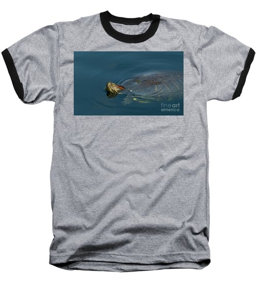 Turtle Floating In Calm Waters Baseball T-Shirt