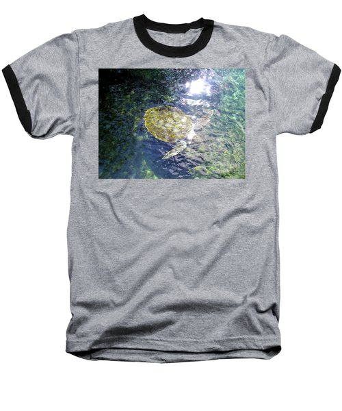 Baseball T-Shirt featuring the photograph Turtle Water Glide by Francesca Mackenney