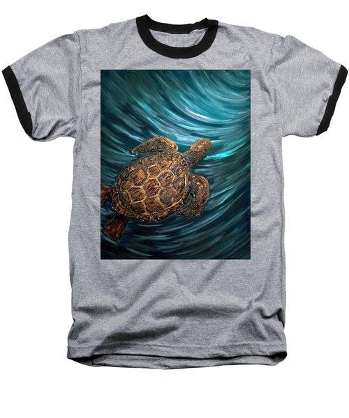 Turtle Wave Deep Blue Baseball T-Shirt