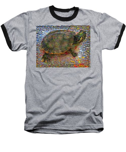 Baseball T-Shirt featuring the mixed media Turtle Wild Animals Mosaic by Paul Van Scott