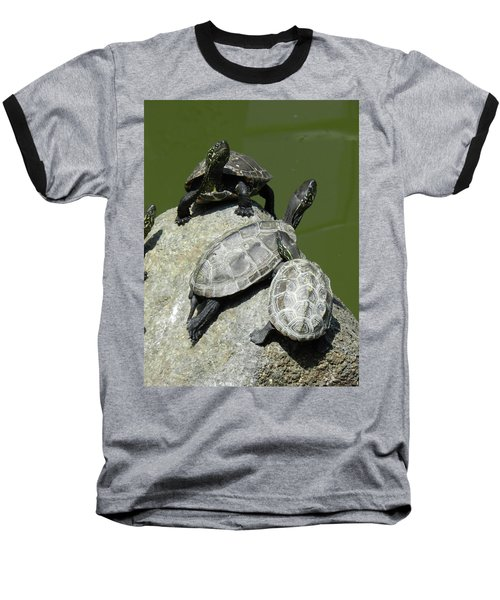 Baseball T-Shirt featuring the photograph Turtles At A Temple In Narita, Japan by Breck Bartholomew