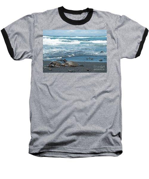 Turtles On Black Sand Beach Baseball T-Shirt