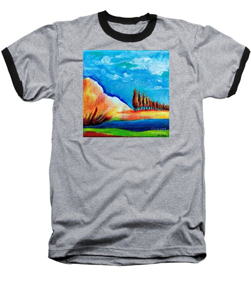 Baseball T-Shirt featuring the painting Tuscan Cypress by Elizabeth Fontaine-Barr