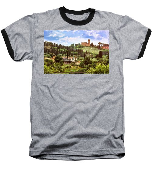 Tuscan Fields And Old Castle In Florence Baseball T-Shirt