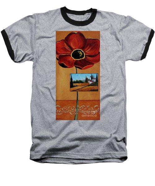 Tuscan Poppy Postcard Baseball T-Shirt