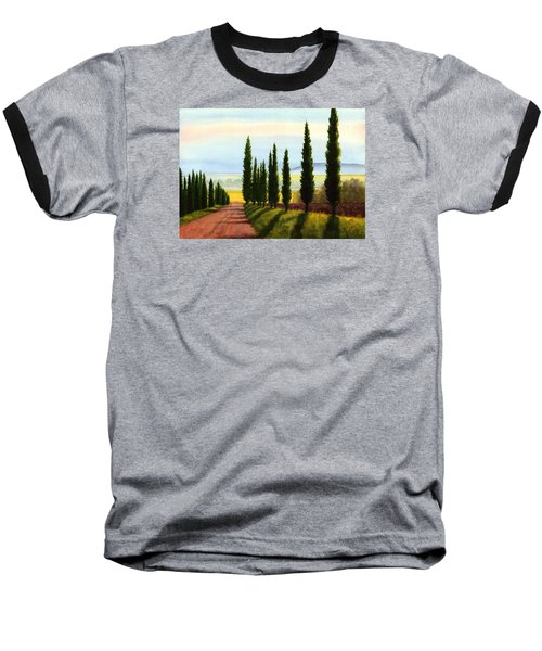 Baseball T-Shirt featuring the painting Tuscany Cypress Trees by Janet King