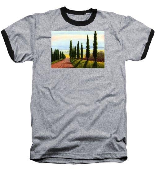 Tuscany Cypress Trees Baseball T-Shirt by Janet King
