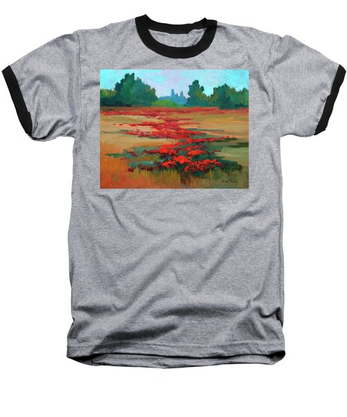 Tuscany Poppy Field Baseball T-Shirt by Diane McClary