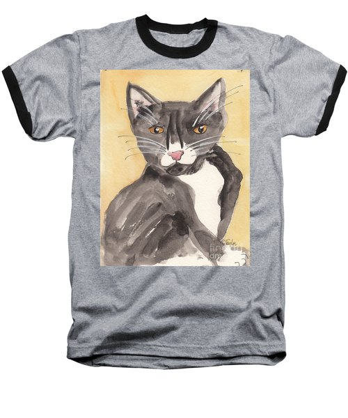 Tuxedo Cat With Attitude Baseball T-Shirt by Terry Taylor