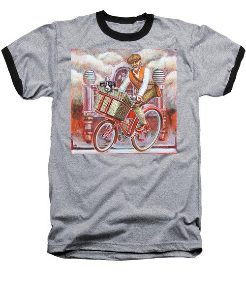Tweed Runner On Red Pashley Baseball T-Shirt by Mark Jones