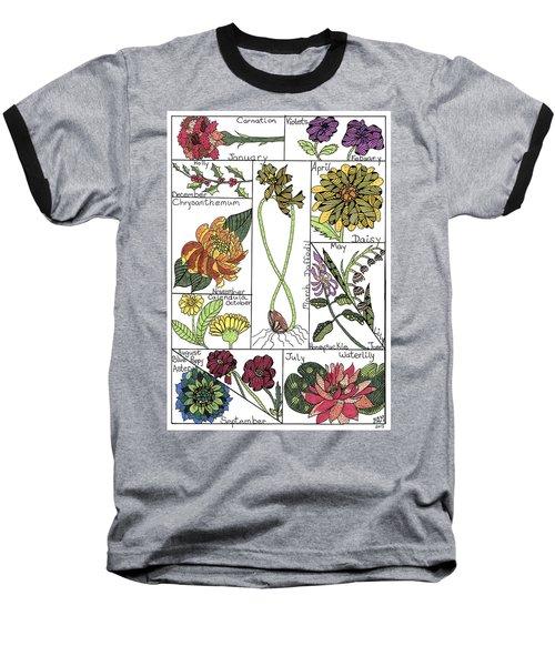 Twelve Month Flower Box Baseball T-Shirt