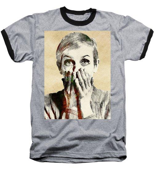 Twiggy Surprised Baseball T-Shirt by Mihaela Pater
