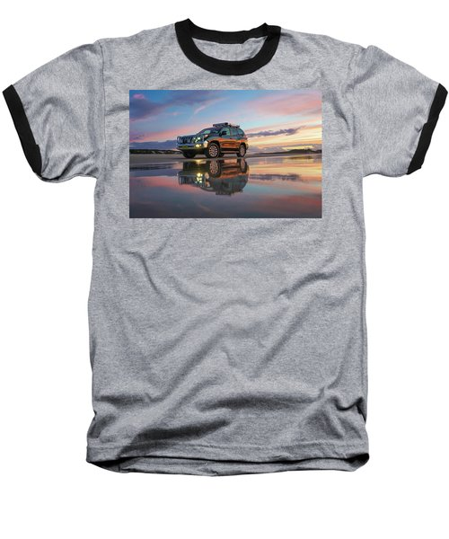 Twilight Beach Reflections And 4wd Car Baseball T-Shirt