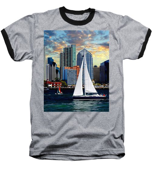 Twilight Harbor Curise1 Baseball T-Shirt by Chambers and  De Forge