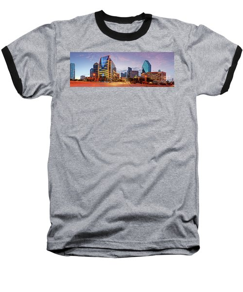 Twilight Panorama Of Downtown Dallas Skyline - North Akard Street Dallas Texas Baseball T-Shirt