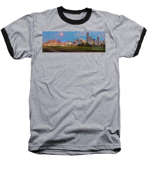 Twilight Panorama Of Downtown Houston Skyline And University Of Houston - Harris County Texas Baseball T-Shirt