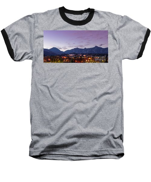 Twilight Panorama Of Estes Park, Stanley Hotel, Castle Mountain And Lumpy Ridge - Rocky Mountains  Baseball T-Shirt