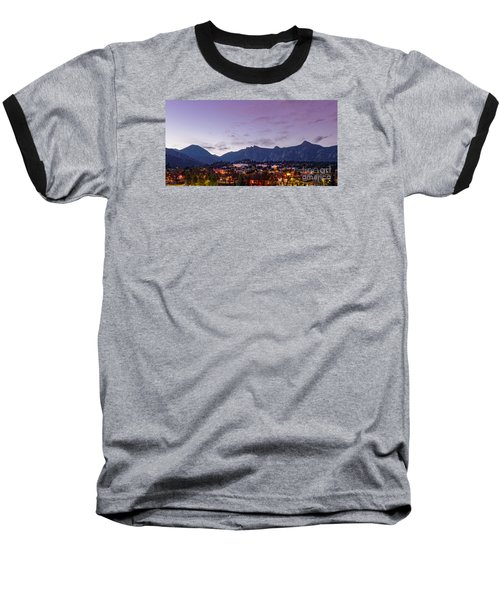 Twilight Panorama Of Estes Park, Stanley Hotel, Castle Mountain And Lumpy Ridge - Rocky Mountains  Baseball T-Shirt