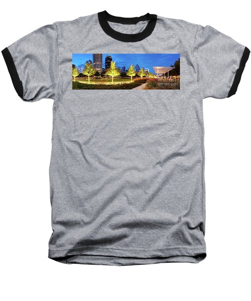 Twilight Panorama Of Klyde Warren Park And Downtown Dallas Skyline - North Texas Baseball T-Shirt