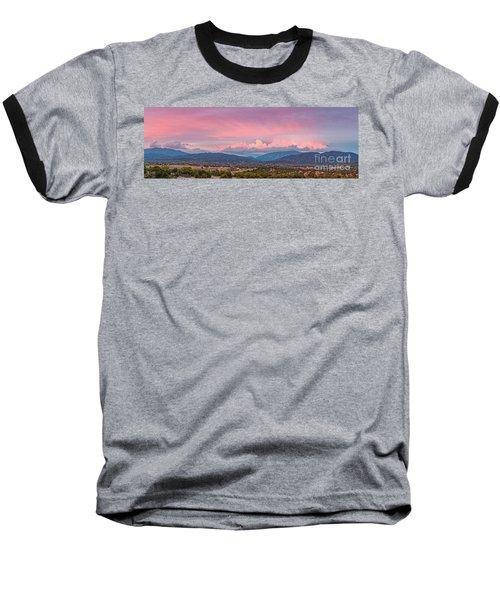 Twilight Panorama Of Sangre De Cristo Mountains And Santa Fe - New Mexico Land Of Enchantment Baseball T-Shirt