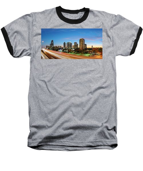 Twilight Panorama Of Uptown Houston Business District And Galleria Area Skyline Harris County Texas Baseball T-Shirt