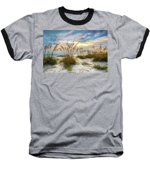 Twilight Sea Oats Baseball T-Shirt by Steven Sparks