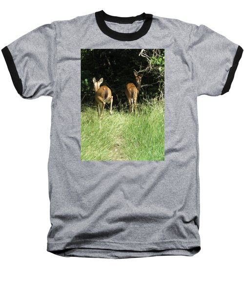 Baseball T-Shirt featuring the photograph Twin Fawns by Phyllis Beiser
