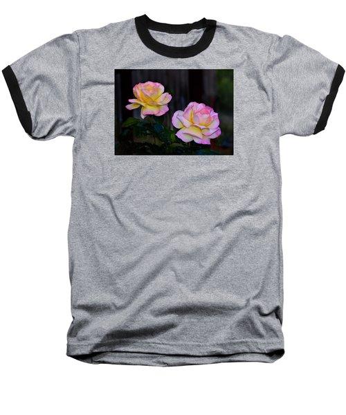 Twin Roses Baseball T-Shirt by Josephine Buschman