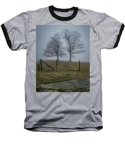Twin Trees Late Fall Foggy Morning Baseball T-Shirt