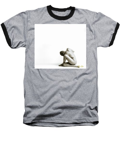 Baseball T-Shirt featuring the photograph Twisted Figure On White by Rikk Flohr