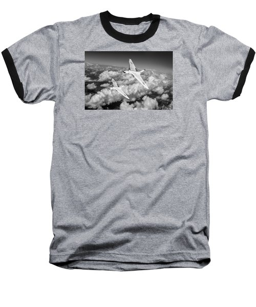 Baseball T-Shirt featuring the photograph Two Avro Vulcan B1 Nuclear Bombers Bw Version by Gary Eason